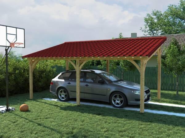 Pergola de madera cobertura techo teja ONDUVILLA Rojo clásico